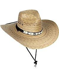 Large Mexican Palm Leaf Cowboy Hat with Chin Strap, Sombreros de Hombre de Palma