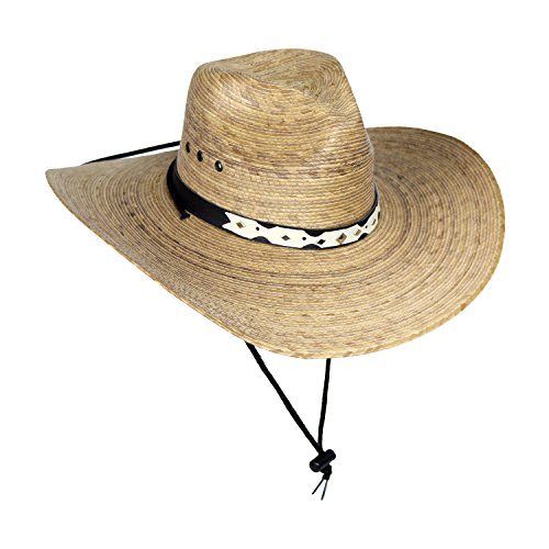 MWS Large Mexican Palm Leaf Cowboy Hat with Chin Strap, Sombreros de Hombre de Palma, Natural, Large