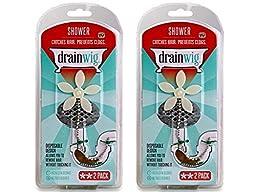 DrainWig Shower Drain Hair Catcher (TWO 2-Packs) - Never Clean a Clogged Drain Again!