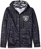 Zubaz NFL Oakland Raiders Male Full Zip Camo Space Dye Hoodie, Small, Black
