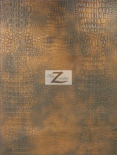 (ALLIGATOR EMBOSSED VINYL FAUX LEATHER PLEATHER FABRIC - Copper - 56