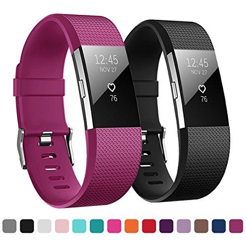 Kutop Bands Compatible for Fitbit Charge 2, Soft Silicone Replacement Watchband Sports Fitness Strap Band Compatible for Charge 2 Wristband ()