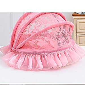 Creation Core Luxury Washable Pet Puppy Cat Princess Lace Bed with Canopy(Pink,Small)