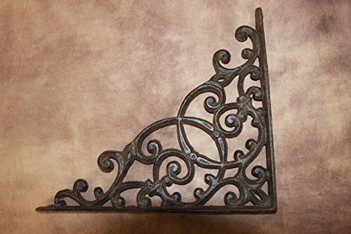 Elegant Farmhouse Entrance Way Corner Shelf Brackets Solid Cast Iron, 13'', Set of 2 by Cast Iron Home Decor Collectibles (Image #1)