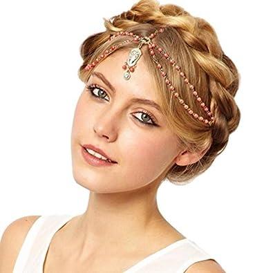 Yiyilai Coiffure Fantaisie Femme Perle Chaine Cheveux Bijoux