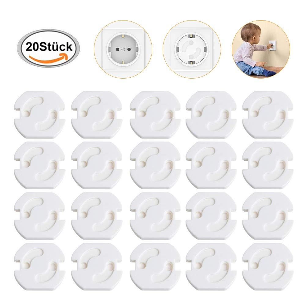 20 Stück Kindersicherung für Steckdose mit Drehmechanik, Steckdosensicherung Baby Kleinkinder, Socket Protection, Weiß Weiß ToullGo