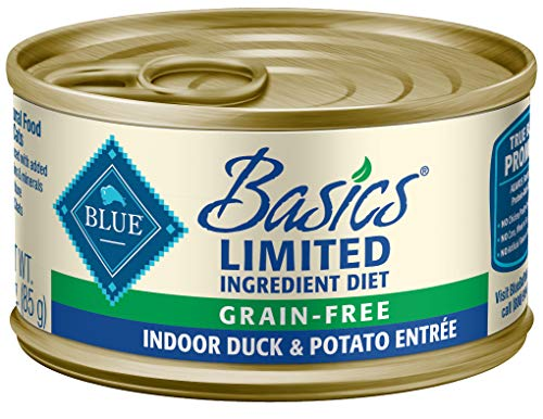 Blue Basics Limited Ingredient Diet Adult Indoor Grain Free Duck & Potato Wet Cat Food 3-Oz (Pack Of 24)