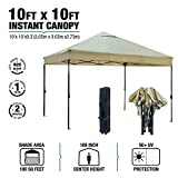 kdgarden 10' x 10' Outdoor Easy Pop Up Canopy Portable Event Party Shade Shelter Tent with Wheeled Carry Bag, Tan
