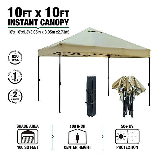 kdgarden 10' x 10' Outdoor Easy Pop Up Canopy Portable Event Party Shade Shelter Tent with Wheeled Carry Bag, Tan by kdgarden