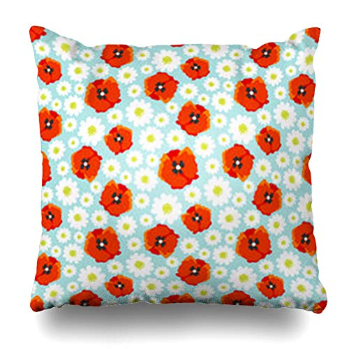 YeaSHARK Throw Pillow Covers Nature 70S Flower Field Daisy Poppy Allover Pattern Petal Abstract 60S Orange Baby Black Chamomile Zippered Design Square 16