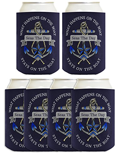 Custom Boat Bag - Customized Boating Can Coolies Your Boat Name Custom Sailing Gift Boating Birthday Party Supplies Custom Image Coolie 6 Pack Can Coolie Drink Coolers Coolies Navy