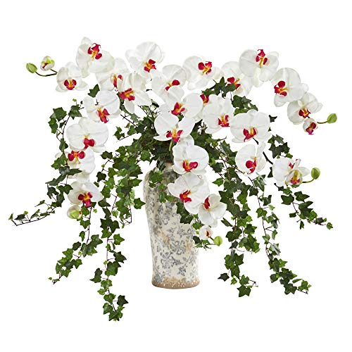 - Nearly Natural 1870-WH Phalaenopsis Orchid and Ivy Artificial Urn Silk Arrangements, White