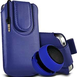 LG G2 Mini premium protección PU botón magnético ficha de extracción Slip In Pouch Pocket Cordón piel cubierta de la caja de liberación rápida y Mini recargable portátil de 3,5 mm Cápsula Viajes Bass Speaker Jack Dark Blue por Spyrox