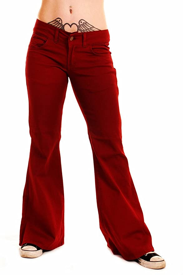 Women's 1960s Style Pants Retro Burgundy Stretch Vintage Hipster BellBottom Super Flares $44.95 AT vintagedancer.com