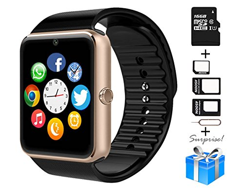 Smartwatch, Collasaro Sweatproof Smart Watch Phone with Camera and SIM Card Slot, Smart Watch for Android Samsung IOS iPhone LG Sony HTC Smartphones