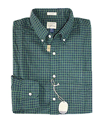 J Crew Men's Tall Sizes - Classic Fit - Gingham Secret Washed Shirt (Large Tall, Heather Forest) from J.Crew