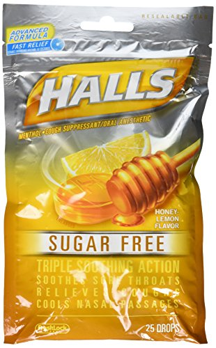 Halls Sugar Free Honey Lemon Flavor of Triple Soothing Action Fast Relief Cough Suppressant - 3 Bags of 25 Cough Drops (75 Drops - Honey Lozenges 75