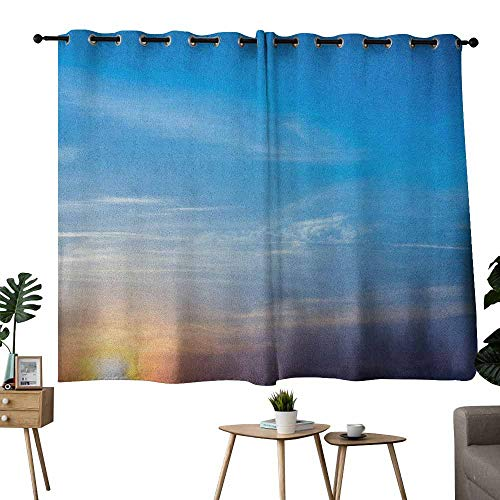 Mannwarehouse Yellow and Blue Novel Curtains Sunrise Blurry Sky Horizon in The Middle of Nowhere Serene View for Living, Dining, Bedroom (Pair) 55