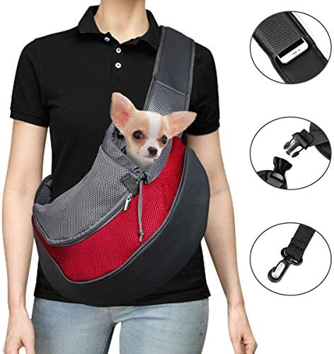 Pet Carrier Hand Free Sling for Cats Dogs Bunny Breathable Net Adjustable Padded Strap Tote Shoulder Bag Front Pocket Up to 11 lbs Safety for Small Dog Cat Puppy Outdoor Travel Washable