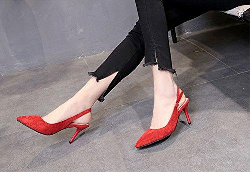 et profonde de KUKI toutes les à 2 chaussures avec était talons hauts match la mode bouche bien la peu Mesdames mince Baotou rouge F8qwF06