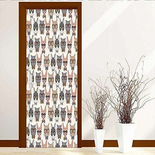 Muyindo Static Cling Glass Film Seamless Hipster Cats Privacy Window Film Decorative Window Film W23 x H70 by Muyindo