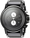 Vestal Plexi Acetate Japanese-Quartz Watch with Stainless-Steel Strap, Black, 23 (Model: PLA025