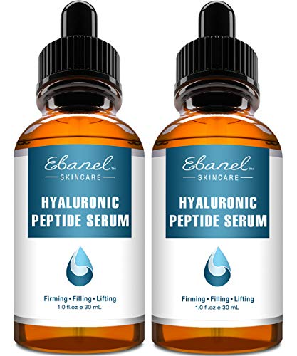 51E1712L6qL - Ebanel Hyaluronic Acid Serum for Face with Peptides, Deep Hydrating Anti Aging Serum, Visibly Plump, Firm & Smooth Skin, Reduce Redness with Vitamin E and B5, Aloe Vera, Jojoba Seed Oil, 2-Pack