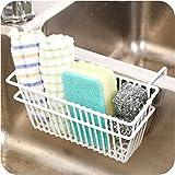 Zollyss Sink Shelf Organizer Soap Sponge Drain Stand Rack Towel Shelves Holder Cupboard White Draining Storage Basket