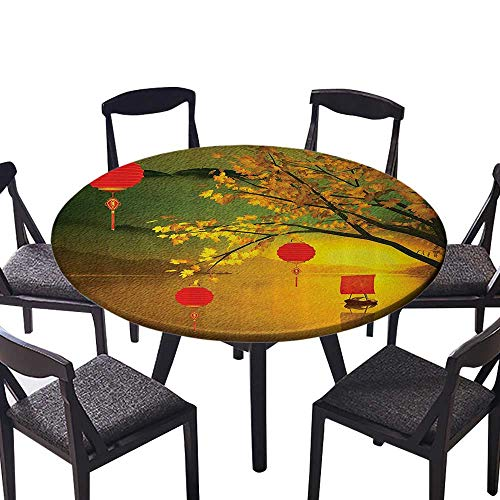 Round Tablecloths Traditial Chinese Lanterns Hanging from Pale ll Trees Over The Lake for Family Dinners or Gatherings 35.5