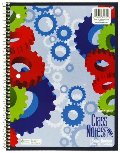 Top Flight Class Notes 1-Subject Wirebound Notebook, 70 Sheets, 3-Hole Punched, Wide Rule, 10.5 x 8 Inches, 1 Notebook, Color May Vary (31115)