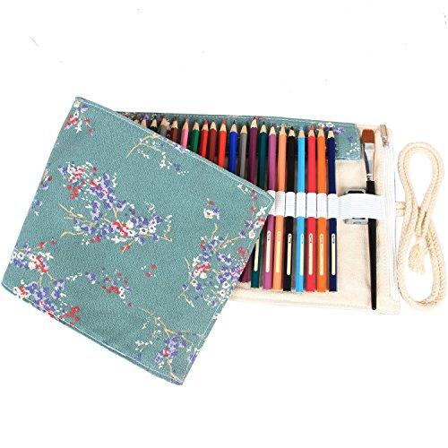 Damero 72 Canvas Colored Pencils Wrap, Roll up Pen Holder Case with Zipper Pouch for Accessories, Cute and Multi-purpose (NO Pencil ()