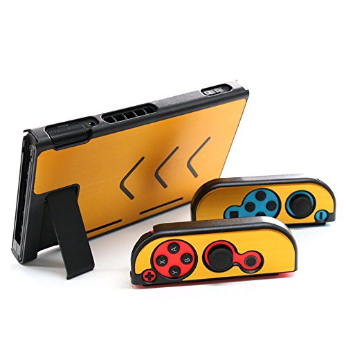 Aluminum Anti-scratch Dustproof Hard Back Protective Case Cover Shells for Nintendo Switch NS Console with Joy-Con Controller (Gold)