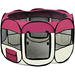 Burgundy Large Pet Dog Cat Playpen Tent Portable Exercise Fence Kennel Cage Crate