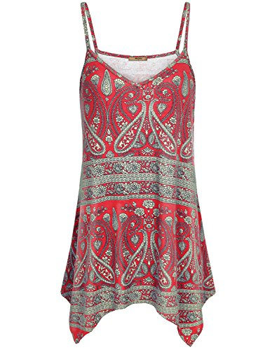 Miusey Spaghetti Strap Loose Fit Tank Top Women Sleeveless Thin Summer Camisole Clothes Dress Leggings Attire Outfits Office Flare Waist Tunic Shirts Cami Curved Hem X-Large Red (Tank Strap Dress Thin)