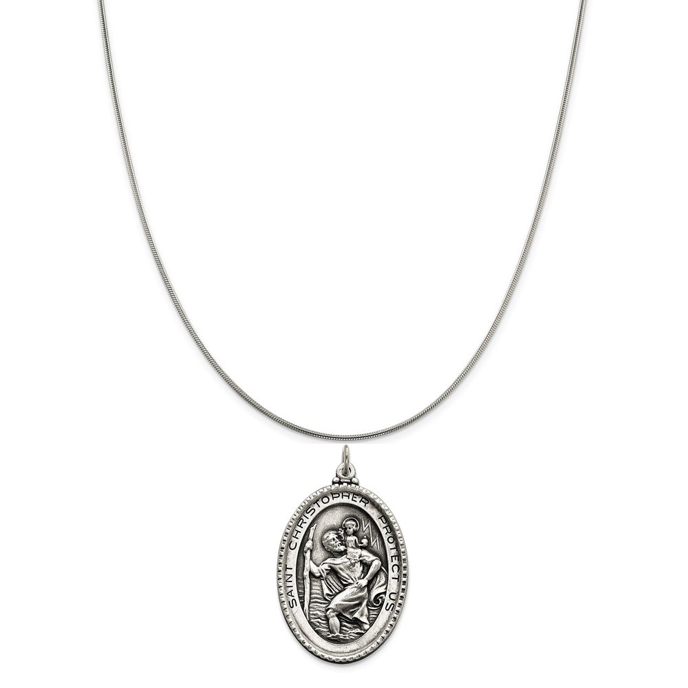 Snake or Ball Chain Necklace Sterling Silver Antiqued Saint Christopher Medal on a Sterling Silver Cable