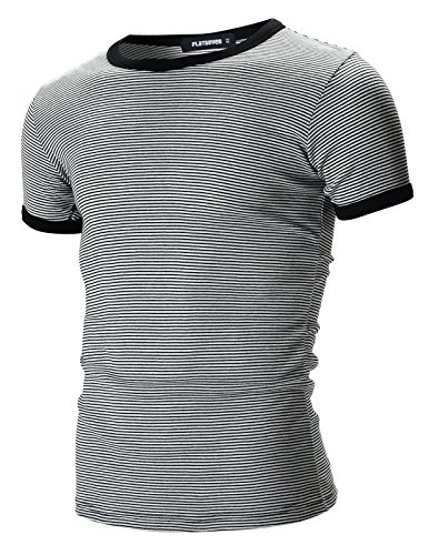 [FLATSEVEN Mens Casual Small Striped Crew Neck Short Sleeve Tee Shirt (TR1001) Black, M] (Pugsley Addams Costume)