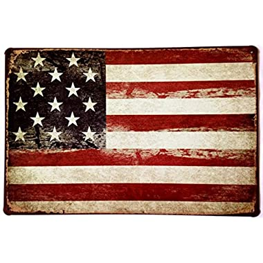 ERLOOD American Flag Logo Retro Vintage Decor Tin Sign