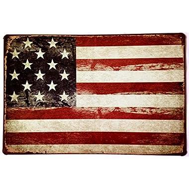 ERLOOD American Flag Logo Retro Vintage Decor Tin Sign 12