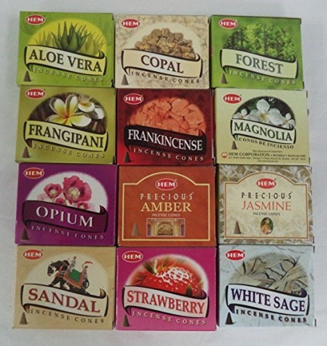 12 Assorted Boxes of HEM Incense Cones, Best Sellers Set #3 12 X 10 (120 total) by Hem