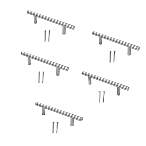 Paquete de 5 PCS Manijas en Forma de T en Acero Inoxidable para Cajones Puertas (128mm/5.04