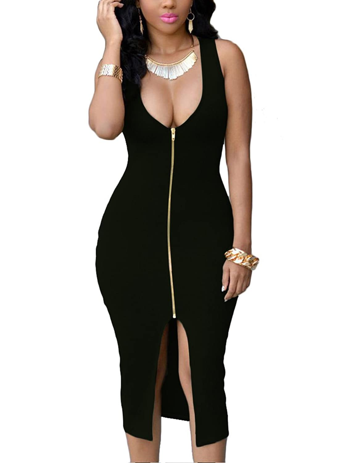 Amazon.com: YMING Women Zip-Front Bodycon Party Club Evening Plus Size Dress S-4XL: Clothing