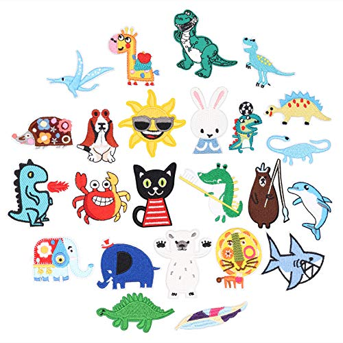 24pcs Cute Animal Iron on Patches Embroidered Motif Applique Assorted Size Decoration Sew On Patches Custom Patches for DIY Jeans, Jacket, Kid's Clothing, Bag,Caps, Arts Craft Sew Makin (Animal 24pcs)