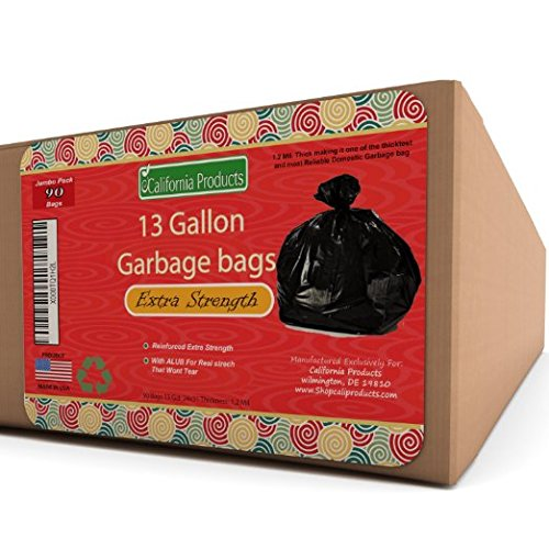 13 gallon Durable Trash Bags - Hefty + Flex - For Kitchen, Cars, Bathroom and Home Use - Rip + Tear Resistant - USA made by California Products (Trash Can Kitchen 13 Gallon compare prices)
