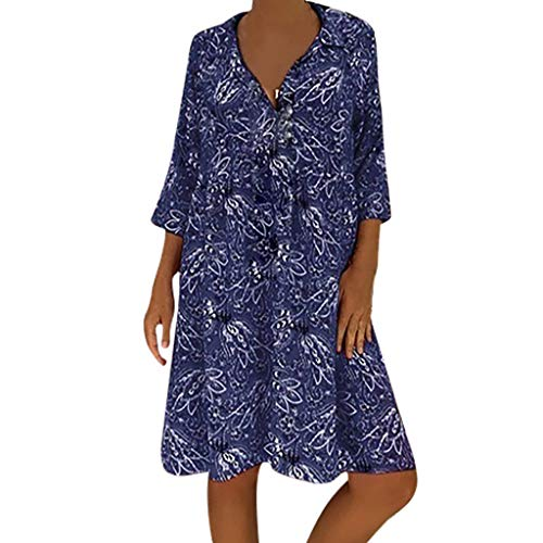 TRENDINAO Womens 3/4 Sleeve A Line Dress,Casual Plus Size Floral Printed Deep V-Neck Loose Fashion Summer Swing Dresses Navy