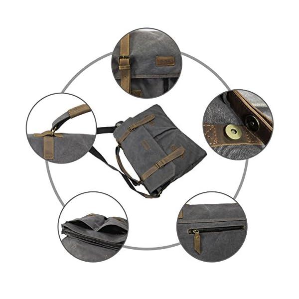LOSMILE Sac Bandoulière Homme,Sacoche Ordinateur Portable 15,6 Pouces,Sac à Épaule Rétro Vintage Serviette en Toile avec…