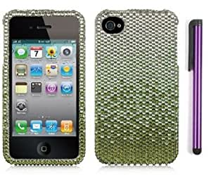 Bloutina Premium Apple Iphone 4, 4s Phone Protector Hard Cover Case Green And Silver Full Diamond Rhinestone With Purple...