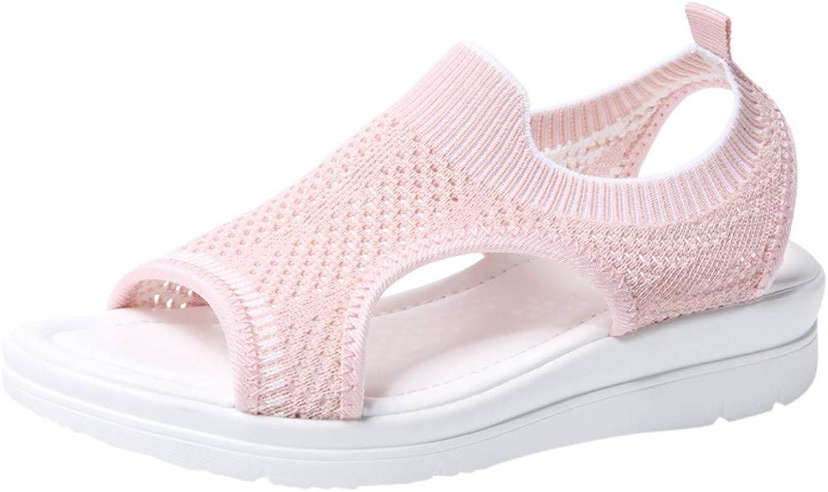 Women/'s Platform Thick Soft Sandals NDGDA Ladies Open Toe Summer Flip Flop Shoes Roman Casual Flock Sandals