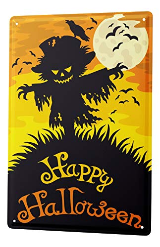 LEotiE SINCE 2004 Tin Sign Happy Halloween scary scarecrow with moon and bats comic cartoon satire 20x30 cm metal shield Shield Wall Art Deco decoration retro Advertising -