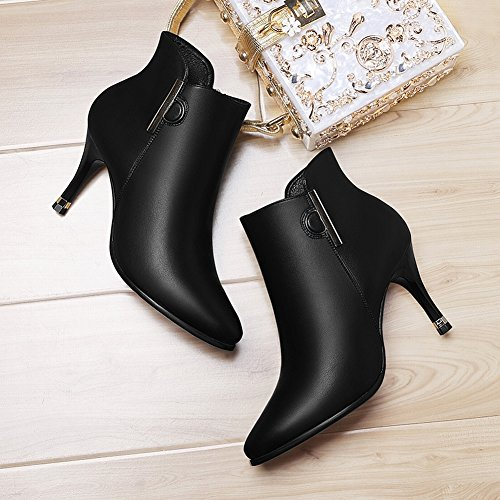 Heeled EUR36 Boots with Shoes Leather Plus Leather 5 Boots Boots black Fine Shoes High Martin Sexy zH6wW4q