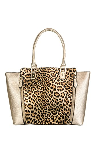 Lcolette Leopard Printed Accented Tote Top Handle Bag With Strap Lp1024 (champagne) Lp1024
